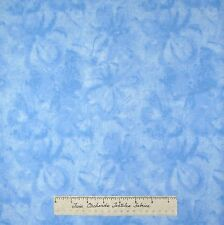 Floral Fabric - Impressionist Baby Blue Flower Tonal - Cotton LAST 1.25 Yards