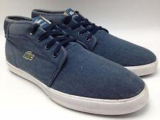 3C4 Lacoste Ampthill Lace Up Sneakers Casual Canvas Blue Men Slip-on Shoes Sz 8