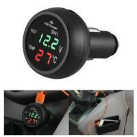 3 in1 12/24V Car LED Digital Voltmeter Gauge+Thermometer+USB Charger(Green)