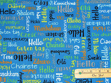 We Share One World IB Blue Words Greetings Fabric by the 1/2 Yard #42718