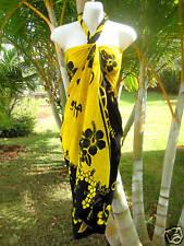 Hawaii Sarong Yellow Black Hibiscus Hawaiian Cruise Beach Pool Luau Pareo Dress