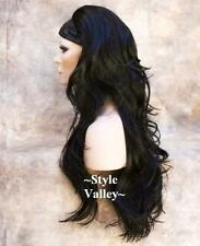 Gorgeous Black 3/4 Fall Half Wig Hairpiece Long Wavy Layered Hair Piece #1B HOT!