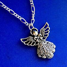 TIBETAN SILVER FANCY FILIGREE CHRISTIAN ANGEL NECKLACE A27 USA MADE Figaro Chain