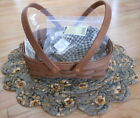 LONGABERGER~OVAL MUFFIN BASKET LINER COMBO~RICH BROWN~KHAKI CHECK~NEW!