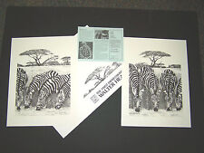 "Walter Hearn Signed and Numbered Limited Edition Prints ""Zebra I and Ii"" B&W"