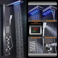 ELLO&ALLO Stainless Steel Rain Waterfall Shower Panel Tower Rain Massage System