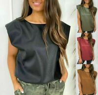 Women's Ladies PU Faux Leather Padded Shoulder Sleeveless T-Shirt Tee Blouse Top