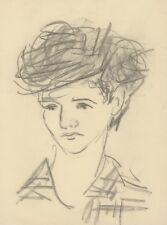 """""""PORTRAIT de JEUNE HOMME"""" Dessin au crayon noir sur papier non signé"""