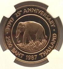 Thailand 1987 Elephant 2500 Baht NGC PF69 Gold Coin,Proof