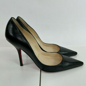 Christian Louboutin Kate Black Leather Classic Pumps Heels 100mm Size 35.5 - 5.5