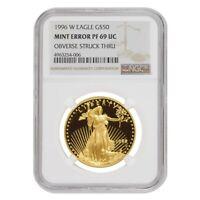 1996 W 1 oz $50 Proof Gold American Eagle NGC PF 69 UCAM Mint Error (Obv Struck