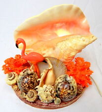 Vintage MCM Seashell Conch Coral Flamingo Beach Tabletop LAMP Works Kitschy Cool