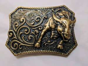 ✖ WESTERN STEER BULL Bronze Cowboy Rodeo Style ✖ Belt Buckle ✖ Roping Solid USA