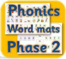 PHONICS A4 TRICKY WORDS &  SOUND HELP MATS LETTERS & SOUNDS PHASE 2 ON CD