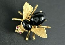$2,850 Herbert Rosenthal 18K Solid Yellow Gold Black Onyx Ruby Eyes Pin Brooch