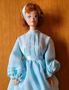 Vtg 1962 Midge Mattel Barbie Doll Blue Prairie Dress Red Hair Freckles JAPAN