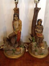 Apsit Brothers of California Native American Figure Lamps Pair Vintage 1980