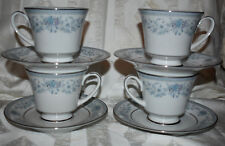 Noritake China BLUE HILL Cups and Saucers for Four (4) Mint