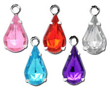 10 Silver Plated Rhinestone Faceted Acrylic Teardrop Charm Pendants chs0338