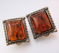 Vintage Baltic Honey Amber Sterling Silver Earrings Clip On Jewelry Jewellery