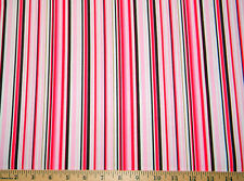 "By 1/2 yard Pink Brown Stripes Valentine's fabric 100% cotton   44""wide"