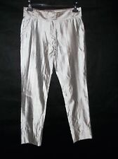 Genuine silk HUSSEIN CHALAYAN silver grey trousers size 42 net a porter