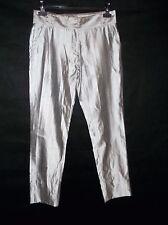 Genuine silk HUSSEIN CHALAYAN silver grey trousers size 42 net a porter