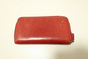 Authentic CHANEL Camellia Leather Red Purse Zip Around Wallet  #8015