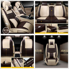 Universal 9 Pcs Deluxe Edition Car 5-Seats Seat Covers PU Leather Cushion Pillow