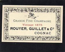 COGNAC VIEILLE LITHOGRAPHIE ROUYER  GUILLET ET CIE RECOLTE 1875 RARE  §12/10/17§