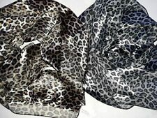Accessories Grey/Black Brown/Black Animal Print Satin/Chiffon Scarf-155 x 35 cm