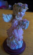 "Decorative 6"" Resin Figurine Statue/ Pink Birthday Angel; Wooden Base; Gift Idea"