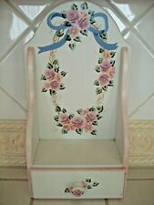 "Beautiful ""Linda"" Hand Painted Wall Shelf w/drawer - Roses ""1996"""