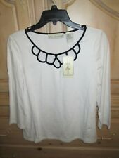 REQUIREMENTS 95% COTTON KNIT 3/4 SL TOP WHT BLK NECKLINE CUTOUT WOMENS SZ M NWT