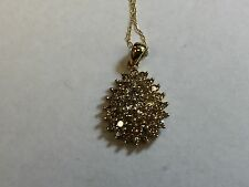 "10K solid gold 1.0 carat natural diamond pendant with 18"" 10K solid gold chain"
