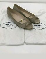 PRADA Beige Open Toe Ballet Pumps Women's Leather Smart Everyday EU40 UK 7 46589