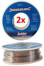 2x 100g  60/40 Tin lead Solder Wire Rosin Core Soldering 2% Flux Reel Tube 1.0mm