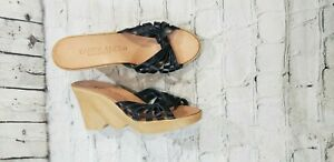 NEW FAMOLARE Hi Up Black Strappy Wedge Sandals Heel Soft Leather WOMENS SZ 9