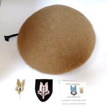 BRITISH ARMY SAS BERET AND 1 CAP & 1 ENTITLED BADGE 1 METAL   BADGE SIZE 7 1/2