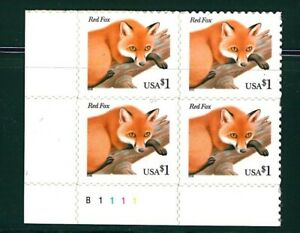 US Scott # 3036 $1.00 Block of 4 Red Fox MNH