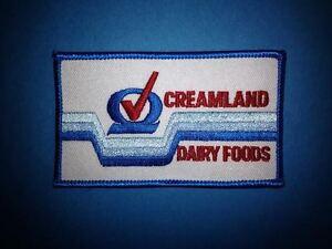 1980's Creamland Dairy Foods Uniform Jacket Hat Work Shirt Iron On Patch Crest