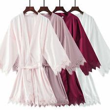 Matt Satin lace Robe with trim Gown Bridal Wedding Bride Bridesmaid robes MT010