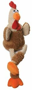 goDog Checkers Skinny Rooster Chew Guard Technology Tough Plush Dog Toy Small