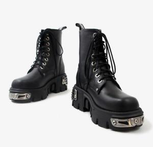 Women Rock Metallic Leather Goth Punk Military Ankle Boots Biker Shoes US 7=EU38