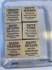 Stampin' Up! Lots of Thoughts Wood Mount 6 Stamp Set 111405 Retired New Mounted