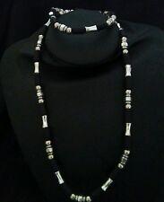 Fashion Mens Black & Silver Corded Necklace & Bracelet Set
