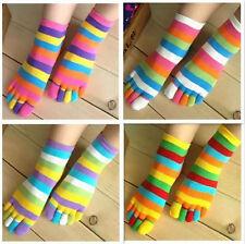 5 Pairs Wholesale Colorful Women's Girl Color stripes five finger Toe Socks&1