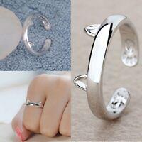 Damen Ringe Silber Versilbert Fingerring Offener Katze Ohr Ring Mode Schmuck