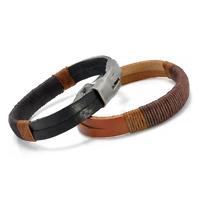 Brown Black Men Retro Punk Hemp Rope Wrap Leather Wristband Cuff Bracelet Bangle