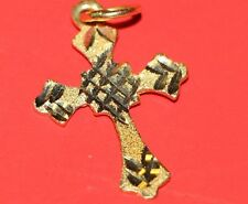 P1 Shiny 18K yellow GOLD PENDANT Charm Orthodox small CROSS Vintage Religious